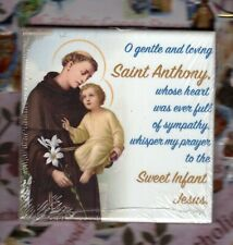 Saint St. Anthony wall or shelf art ceramic tile from Italy