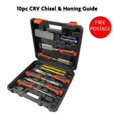 10 Pc Wood Chisel Set & Sharpening Stone + Honing Guide & Pencils Carpentry