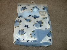 Luvable Friends Blue Floral Baby Girls Blanket Minky Sherpa Fleece NEW NWT RARE