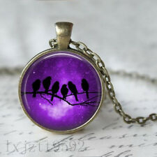 Pendant Chain and gift bag jewelry Purple Nebula with bird silhoette Necklace