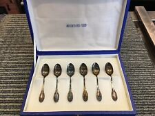 6 Argento 800 Silver  Demitasse Spoons 3 3/4 inch W/ Case