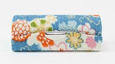 Cute Japanese Blue Flower Retro Lipstick Case Holder w Mirror / Coin Box New