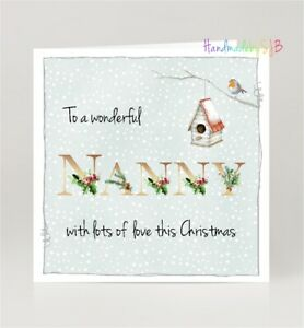 "Wonderful Nanny Christmas Greeting Card, Winter Robin Theme, 6""x6"", Blank Inside"