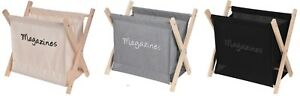 Folding Magazine Rack Newspaper Holder Wood & Canvass Black / Cream / Grey
