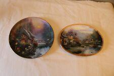 Pair Of 2 Thomas Kinkade Decorative Plates Falbrooke Cottage & Lamplight Brooke