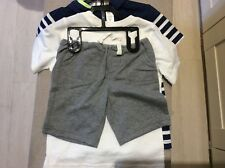 Toddler boys shorts and 2 t shirt set age 3 years Navy Grey White