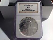 1990 American Silver Eagle MS69. BL4E