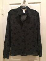 Jones New York Signature button down shirt Blouse Gray/Black Sheer Size 8 , Cute