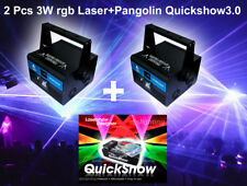 2pcs 3W RGB Party Laser Projector and Pangolin FB3 Quickshow4.0 laser software