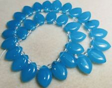 1 String Glass Petal Oval Pendant Drop Beads - Approx 20mm - Gorgeous Aqua