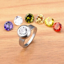 New 15PCS Mixed Colours Zircon Stone Change Stainless Steel Jewelry Mood Rings
