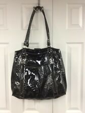 "Strada Black Patent Leather, Alligator Texture, Purse, Satchel, Tote 15"" X 18"""