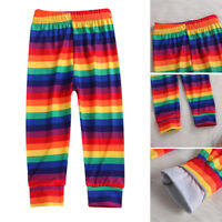Girls Rainbow Leggings Pants Stretch Printing Striped Toddler Leggings Kids 2-7Y