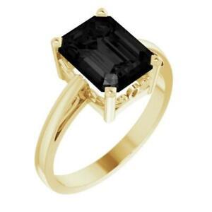 14k Yellow Gold Emerald Cut Onyx Scroll Set Ring Size 7