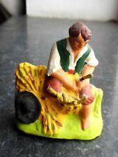 Santon en terre cuite peint Fouque - Vannier Vincent au travail 6 cm