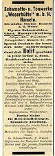 "Schamotte- u. Tonwerke "" Weserhütte "" Hameln a.d. Weser Historische Reklame 1912"