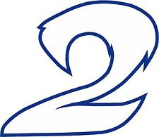 """x1 2"""" Race Number vinyl stickers (MORE in EBAY SHOP) Style 2 Number 2 Whte/d blu"""