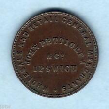 Australia Token.  Pettigrew 1865 1/2d.  Ipswich, Queensland..  gVF - VERY SCARCE