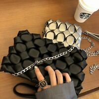 Pebbled Wristlet Pouch Faux Leather Small Shoulder Bag Crossbody Purse Chain