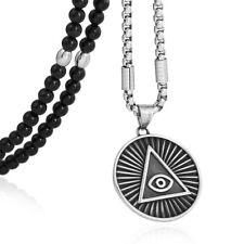 Halbedelstein Achat Kette Handmade mit Anhänger Illuminati Kirche Adam Weishaupt