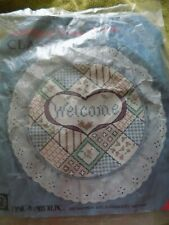 stamped cross stitch welcome hoop