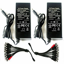 2Pcs DC 12V 5A Power Supply Adapter + 1 to 9 Split Cable F.  Cameras DVR UL FCC