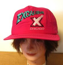 EXCALIBUR nightclub Chicago hot pink baseball hat 1980s nylon snapback cap