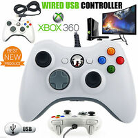 USB Wired Dual Shock Gamepad Game Controllers for Microsoft Xbox 360/PC White
