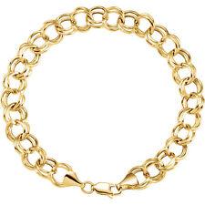 "14k yellow gold double link charm bracelet 7.25"""