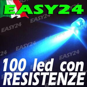 100 DIODI LED BLU ALTA LUMINOSITA' 20 gradi 5 mm con resistenze