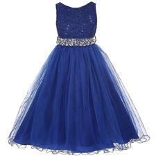 Royal Blue Glitters Flower Girl Dress Rhinestones Belt Double Layer Tulle Skirt
