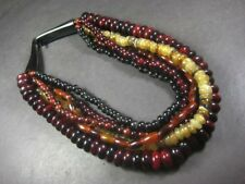N5257 Tribal Ethnic BOHO Strand Resin beaded HORN Massive WOMEN gypsy NECKLACE