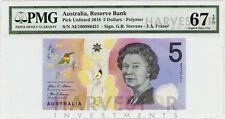 2016 AUSTRALIA $5 POLYMER BANKNOTE - CERTIFIED PMG 67 EPQ - SUPERB GEM UNC - NEW