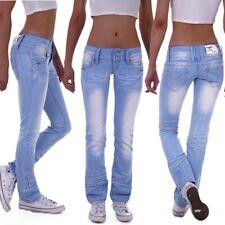 Damen Jeans Hose Hüftjeans Bootcut Gerader Schnitt Straight Leg Low Waist M41