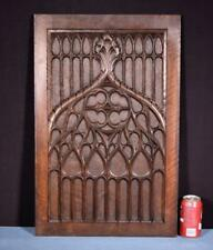 *Large Gothic Hand Carved Architectural Panel in Solid Walnut Wood Salvage