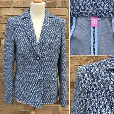 Basler Boucle Tweed Jacket UK 14 Blue White Blazer Smart Work Blogger Style