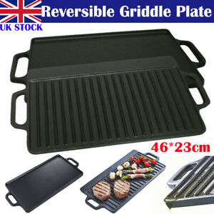 Non Stick Cast Iron Reversible Griddle Plate Frying Skillet Pan Cooking BBQ&HOB