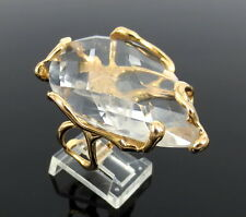 Estate Lucifer Vir Honestus 40.0ct Quartz Organic Design 18K Gold Ring Size 5