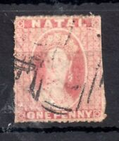Natal QV 1862 1d rose red WMK Star fine used #15 WS13856