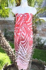 CORAL BROWN ZEBRA ANIMAL PRINT SHEER SARONG PAREO COVERUP SHAWL SCARF DRESS WRAP