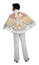 LICENSED ELVIS PRESLEY ADULT MENS 50'S COSTUME CAPE W/ EAGLE ROCK N ROLLS WHITE