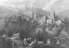 SPAIN, Alhambra Palace Fortress ~ DAVID ROBERTS 1835 Art Print Engraving  RARE!!