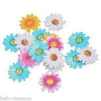 HELLO 20 Wood Buttons 2 Holes Flower Daisy Sewing Scrapbooking 3.4x3.4cm