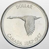 1967 CANADA 1 DOLLAR GOOSE SILVER GEM UNC BLAST WHITE CHOICE BU (DR)