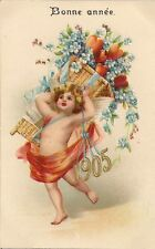 CARTE POSTALE POST CARD FANTAISIE GAUFREE BONNE ANNEE 1905 ANGE FLEUR