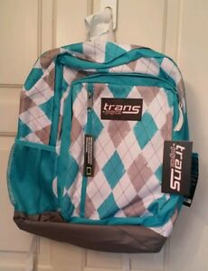 TRANS BACKPACK BY JANSPORT TURQUOISE, WHITE  AND GRAY TARTAN PLAID