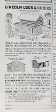 1930 Vintage Lincoln Logs and Bricks Building Toy Original Ad