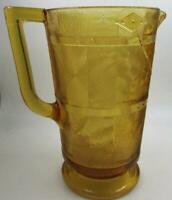 Antique Bryce Higbee Wooden Bucket EAPG Water Pitcher 1880s Amber Glass 8 1/4""