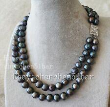 echte gezüchtete 7-8mm schwarze Süßwasser Perlenkette 18 Zoll
