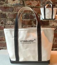 LL Bean Boat & Tote Bag CANVAS ~NEVER USED,Off White, Black Straps